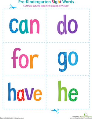 Preschool Reading & Writing Worksheets: Pre-Kindergarten Sight Words: Can to He