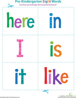 Reading Flash Cards Worksheets & Free Printables | Education.com