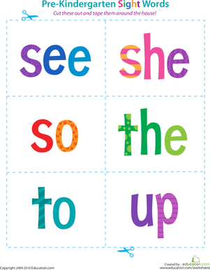 Preschool Reading & Writing Worksheets: Pre-Kindergarten Sight Words: See to Up
