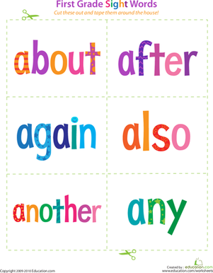 First Grade Reading & Writing Worksheets: Sight Words: About to Any