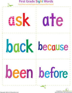 First Grade Reading & Writing Worksheets: First Grade Sight Words: Ask to Before