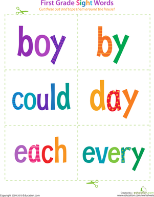 First Grade Reading & Writing Worksheets: First Grade Sight Words: Boy to Every