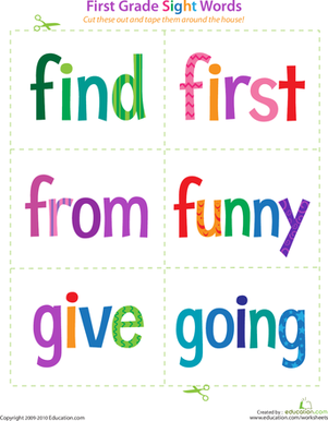 First Grade Reading & Writing Worksheets: First Grade Sight Words: Find to Going