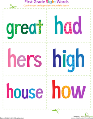 First Grade Reading & Writing Worksheets: First Grade Sight Words: Great to How