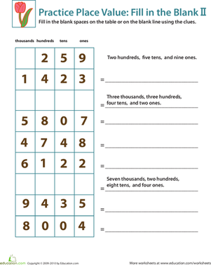 Second Grade Math Worksheets: Practice Place Value: Fill in the Blank II