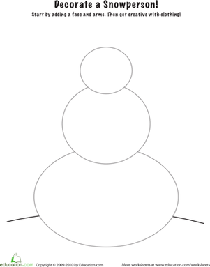 Kindergarten Coloring Worksheets: Snowman Decoration