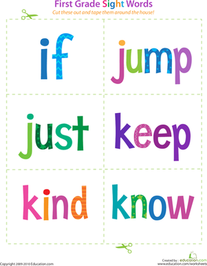 First Grade Reading & Writing Worksheets: First Grade Sight Words: If to Know