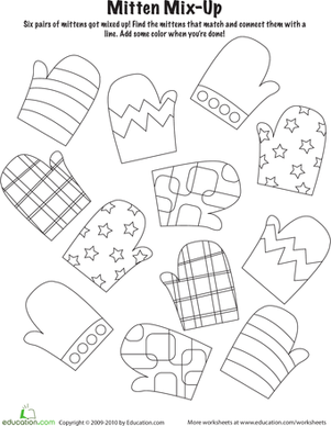 Kindergarten Holidays & Seasons Worksheets: Mitten Mix-and-Match