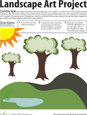 Second Grade Arts & Crafts Worksheets: Landscape Art Project