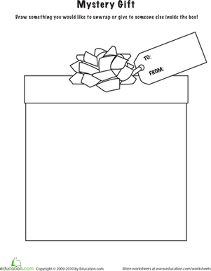 First Grade Arts & Crafts Worksheets: Color the Mystery Gift