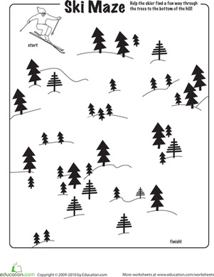 Kindergarten Holidays & Seasons Worksheets: Ski Maze