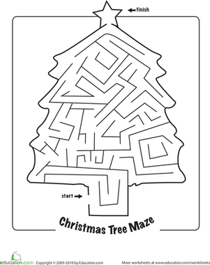 First Grade Holidays & Seasons Worksheets: Christmas Maze