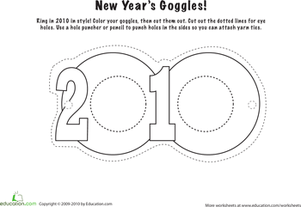 Second Grade Holidays & Seasons Worksheets: Make Stylish New Year's Goggles!