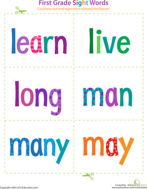 First Grade Sight Words: Learn to May