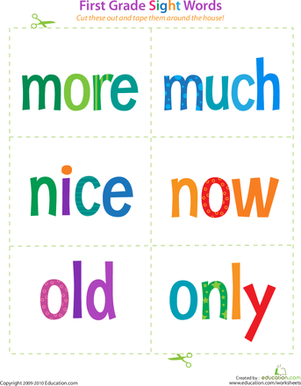 First Grade Reading & Writing Worksheets: First Grade Sight Words: More to Only