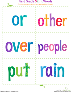 First Grade Reading & Writing Worksheets: First Grade Sight Words: Or to Rain