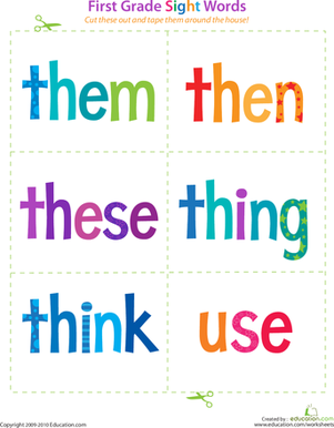 First Grade Reading & Writing Worksheets: First Grade Sight Words: Them to Use