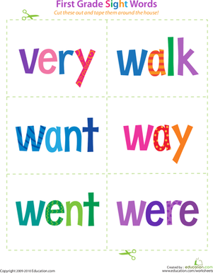 First Grade Reading & Writing Worksheets: First Grade Sight Words: Very to Were