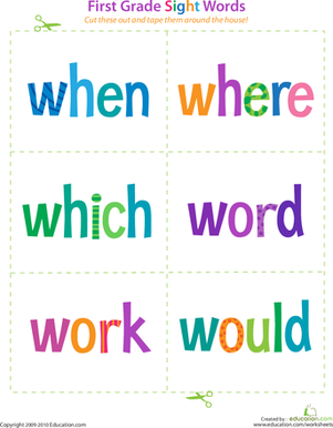 First Grade Reading & Writing Worksheets: First Grade Sight Words: When to Would