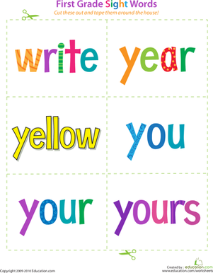 First Grade Reading & Writing Worksheets: First Grade Sight Words: Write to Yours