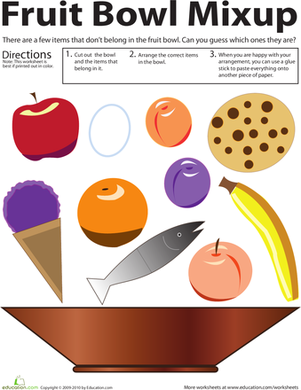 Kindergarten Arts & Crafts Worksheets: Categorizing: Fruit Bowl Mixup!