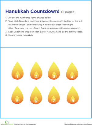 Second Grade Holidays Worksheets: Countdown to Hanukkah
