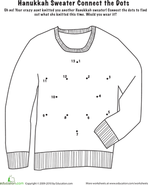 Preschool Holidays & Seasons Worksheets: Connect the Dots: Hanukkah Sweater