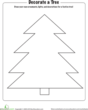 Kindergarten Holidays & Seasons Worksheets: Christmas Coloring: Decorate a Tree