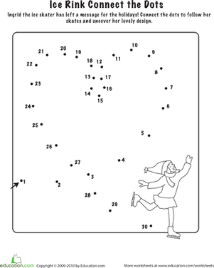 Kindergarten Offline Games Worksheets: Connect the Dots: Let's Go Ice Skating!