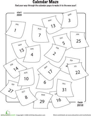 Kindergarten Holidays & Seasons Worksheets: New Year's Calendar Maze