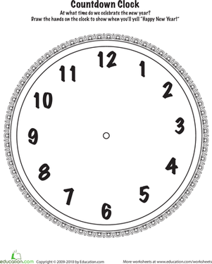 Kindergarten Math Worksheets: New Year's Countdown Clock