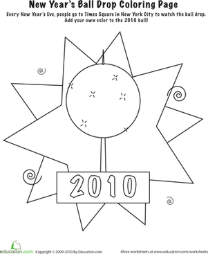 Kindergarten Holidays Worksheets: New Years Ball Coloring Page