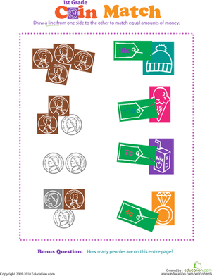 First Grade Math Worksheets: Counting Change: Coin Match III