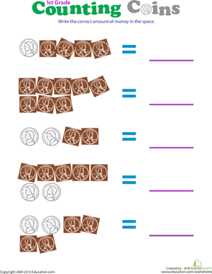 First Grade Math Worksheets: Counting Coins: Pennies and Nickels I