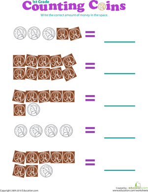 First Grade Math Worksheets: Counting Coins: Pennies and Nickels II