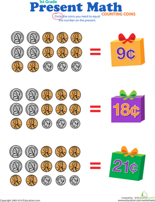 First Grade Math Worksheets: Counting Coins: Present Math I