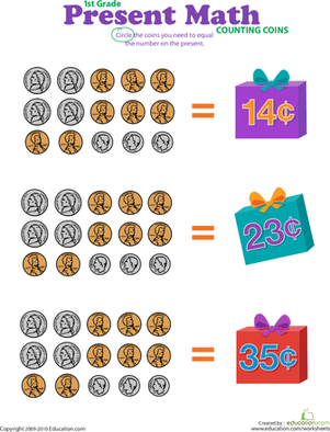 First Grade Math Worksheets: Counting Coins: Present Math II