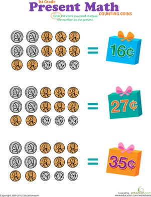 First Grade Math Worksheets: Counting Coins: Present Math III