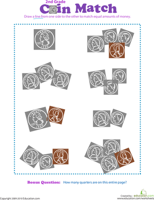 Second Grade Math Worksheets: Coin Match I