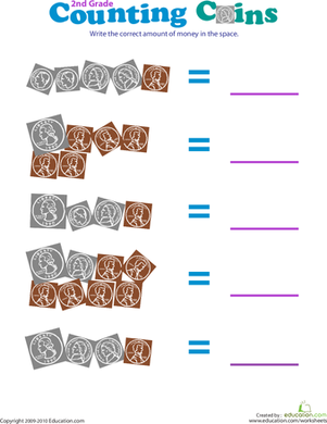 Counting Coins I | Worksheet | Education.com