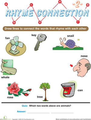 Preschool Reading & Writing Worksheets: Rhyme Connection 2