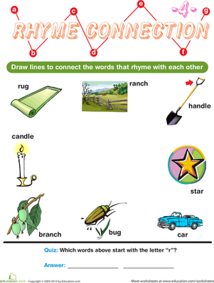 Preschool Reading & Writing Worksheets: Rhyme Connection 4