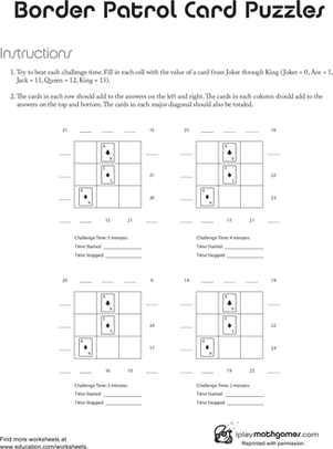 Second Grade Math Worksheets: Border Control Card Puzzles