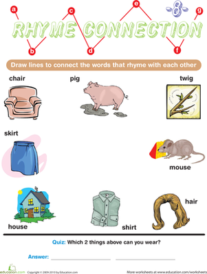 Preschool Reading & Writing Worksheets: Rhyme Connection 8