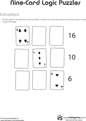 First Grade Math Worksheets: Nine Card Logic Puzzle