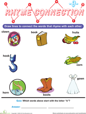 Preschool Reading & Writing Worksheets: Rhyme Connection 9