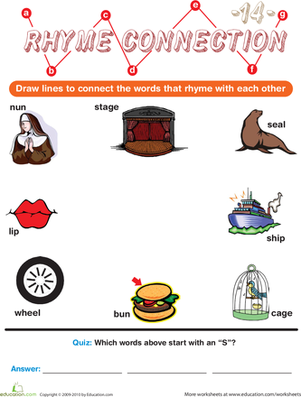 Preschool Reading & Writing Worksheets: Rhyme Connection 14