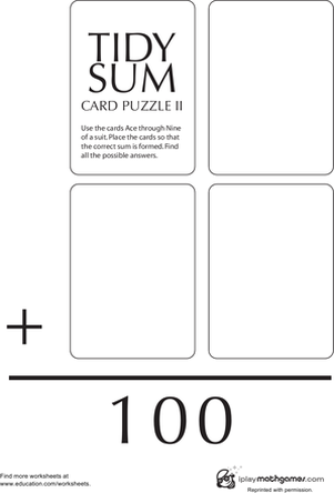 Second Grade Math Worksheets: Tidy Sum 100