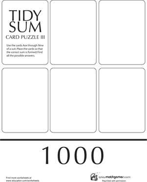 Second Grade Math Worksheets: Tidy Sum 1000