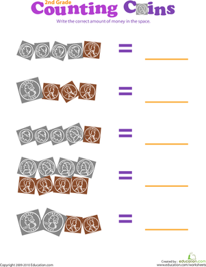 Second Grade Math Worksheets: Counting Coins II